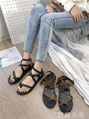 涼鞋涼鞋女仙女風平底新款學生網紅羅馬海邊度假綁帶ins潮沙灘鞋 初語生活