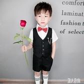 花童禮服男童短袖西裝套裝夏季兒童小主持人演出服裝英倫風四件套 DJ12472『麗人雅苑』