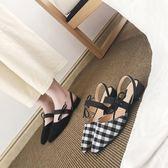 低跟涼鞋新款尖頭蝴蝶結平底鞋深口黑色一字帶包頭低跟穆勒鞋女涼鞋 可然精品