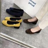 店長推薦2019秋冬新款 撞色INS風毛毛粗跟中跟毛毛鞋女加絨低跟豹紋單鞋女