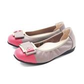 【南紡購物中心】W&M (女)圓頭拼接方釦 娃娃鞋 平底鞋 女鞋 -灰(另有藍.黑)