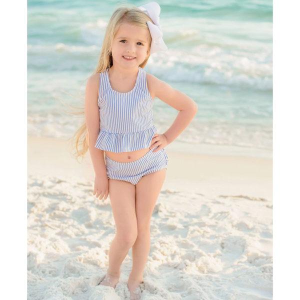 美國RuffleButts 女寶寶 二件式泳裝 多件式泳衣 藍直條【RUSWSSS】