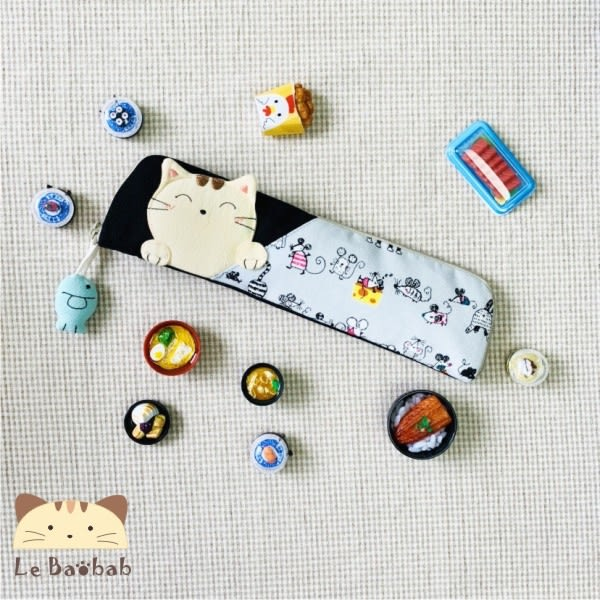 環保餐具~雅瑪小舖日系貓咪包 啵啵貓環保筷套組/拼布包包/筷套
