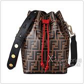 FENDI MON TRESOR 浮雕F字印花小牛皮斜背拼色束口水桶包(黑x褐x紅)