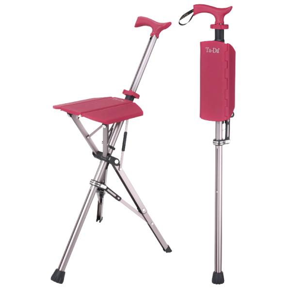 泰達椅-拐杖隨身椅(紅色)-Ta Da chair【杏一】