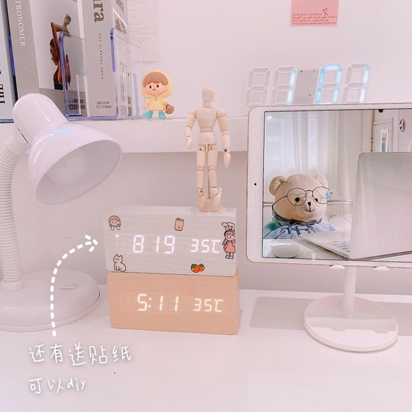 鬧鐘 ins木質數字時鐘學生鬧鐘溫度多功能聲控木頭鐘 簡約桌面擺件裝飾【快速出貨】