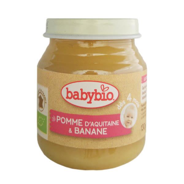 BABYBIO 有機蘋果香蕉鮮果泥/果泥130ml (4個月以上適用)
