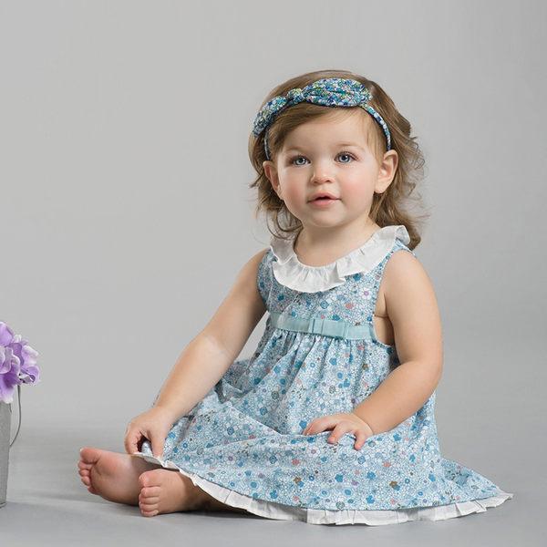 DaveBella 公主碎花藍色無袖洋裝 DB1518