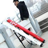 魚竿包1.25米硬殼防水pu漁具包單層釣魚包戶外休閒竿包傘包igo