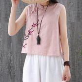 復古文藝民族風夏裝棉麻盤扣寬鬆百搭無袖外穿上衣T恤亞麻背心女