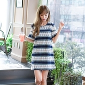 洋裝-短袖鏤空鈎花蕾絲宽鬆女連身裙73nj36【巴黎精品】