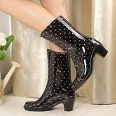 雨靴 高跟中高筒時尚外穿可愛防滑加厚耐磨防水女士雨鞋靴可加保暖絨襪-Ballet朵朵