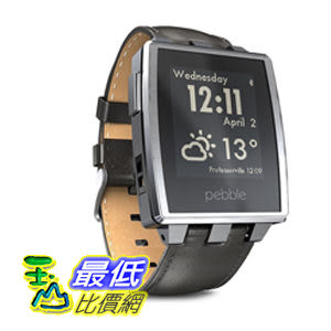 [104美國直購] Pebble Steel B00KVHEL8E 智能手錶 for iPhone and Android Devices (Brushed Stainless) $10897