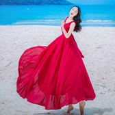 夏季新款女裝復古氣質紅色雪背帶連衣裙無袖修身海邊度假沙灘長裙