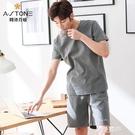 睡衣男夏天薄款純棉短袖短褲男士家居服夏季休閒寬松全棉大碼套裝 極簡雜貨