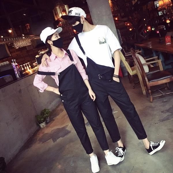 【24H】情侶個性英倫連體吊帶褲 男女寬鬆工裝背帶褲 工作服 店長推薦