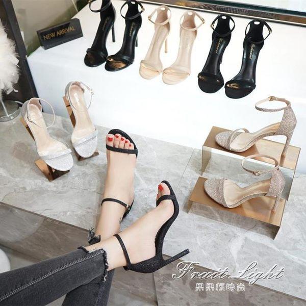 涼鞋女露趾網紅同款細跟百搭一字帶扣chic黑色高跟鞋小碼【果果新品】