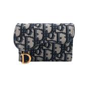 【台中米蘭站】全新品 DIOR SADDLE Oblique 扣式提花卡夾(藍)