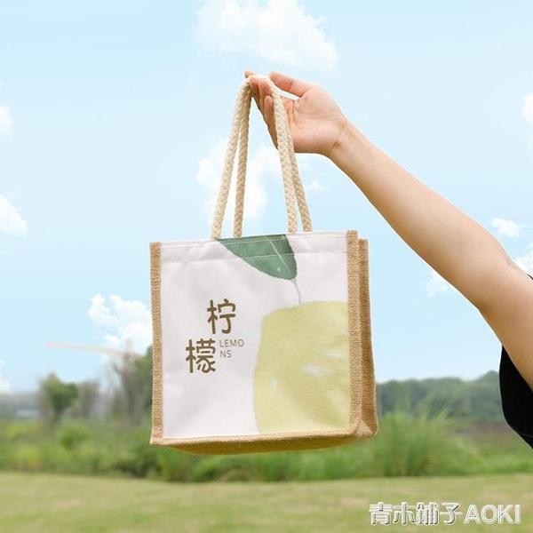 時尚ins風手拎飯盒包手提便當袋上班族防水帶飯包日式帶拉錬餐包 青木鋪子