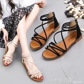 百搭涼鞋女鞋平底鞋春季新款鞋子學生羅馬鞋夏季仙女鞋沙灘鞋 卡布奇諾