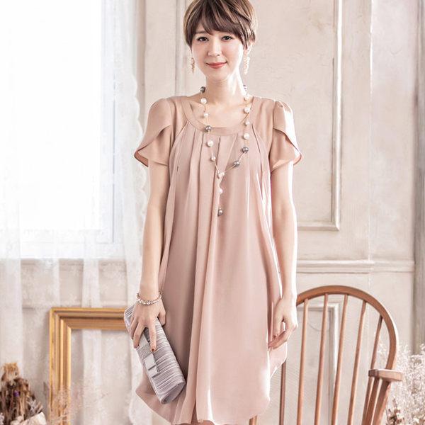 S碼圓領純色抓皺垂墜感短袖名媛洋裝~美之札