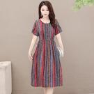 L-5XL胖妹妹大碼洋裝連身裙~短袖民族風棉麻印花中長款連身裙T410胖妹大碼女裝