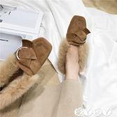 半拖鞋 拖鞋女秋冬季韓版方頭毛毛鞋穆勒鞋平底外穿半拖加絨女鞋 【全館9折】