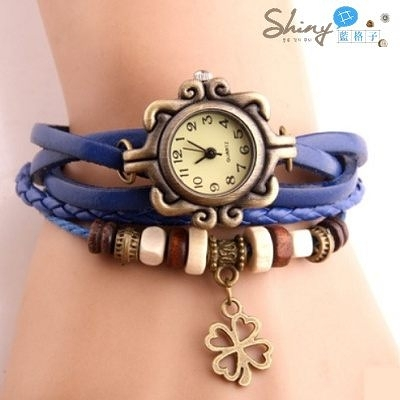 【50A28】shiny藍格子-玩色時尚.復古經典男女款四葉草編織手環手錶