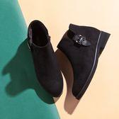【Fair Lady】側面扣飾短靴 黑