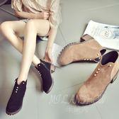 韓版短靴 女靴子 時尚百搭粗跟中跟女鞋 單靴 拉鏈復古馬丁靴