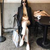 斜背包 ins超火包夏天帆布手提包2018新款韓國東大門時尚彩色條紋托特包【新店開張八八折下殺】
