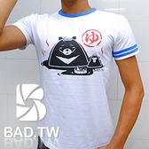 奢華壞男《溫泉熊限量款 - 超舒適彈性合身剪裁T恤 (白底藍領) 》【M / L / XL / 2L / 3L】