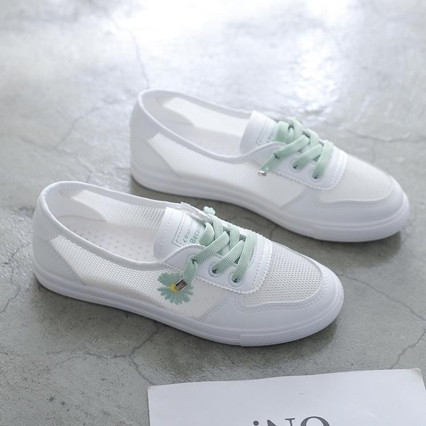 小白鞋女鞋子2021新款春夏季百搭網面透氣小雛菊板鞋潮鞋懶人鞋