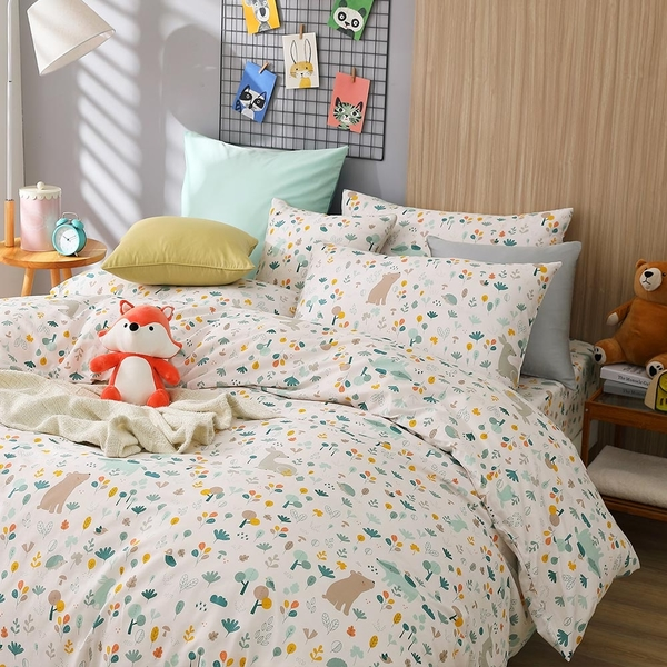 鴻宇 雙人加大兩用被套床包組 森林裡散步 美國棉授權品牌 台灣製2259