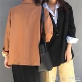 春秋韓版簡約兩粒扣休閒寬鬆上衣氣質純色長袖開衫學生西裝外套女 深藏blue