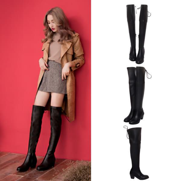 Ann'S俐落線條-羊紋後蝴蝶結貼腿彈力側拉鍊過膝長靴-黑