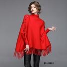 (預購+現貨 RN-girls)-精品個性高領織帶流蘇斗篷毛衣針織上衣