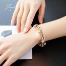 鍍玫瑰金手镯女學生森系閨蜜手環 簡約百搭個性潮人情侶飾品