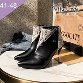 大尺碼女鞋-凱莉密碼-潮流時尚蛇鱗紋撞色高跟短靴9cm(41-48)【GR9-83】黑色