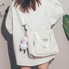 帆布包 大容量帆布包包女2021新款潮裝課本高中大學斜挎包文藝簡約托特包【快速出貨八折鉅惠】