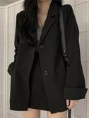 秋季黑色小西裝短外套ins女裝韓版新款寬鬆長袖西服上衣 花樣年華
