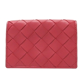 BOTTEGA VENETA 寶緹嘉 莓紅色大格編織羊皮對折卡夾 Intrecciato Card Case BRAND OFF
