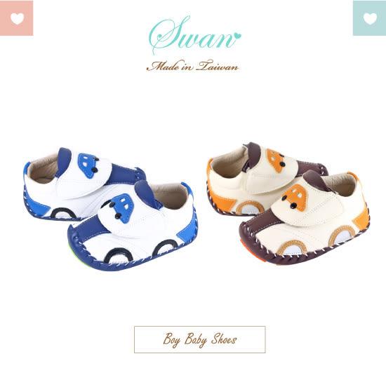 Swan天鵝童鞋-車車造型翹頭學步鞋1564-白