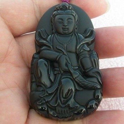 【歡喜心珠寶】【大尊拂塵觀音雕像墜子】天然黑曜岩「附保証書」精雕法像慈祥。超低價售出