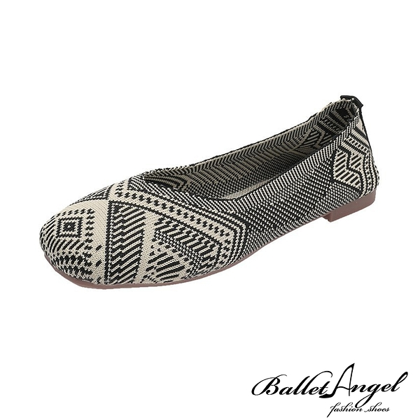 樂福鞋 印花圖騰輕著飛織平底鞋(民族米)*BalletAngel【18-D666mi】【現】