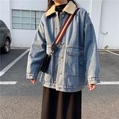 秋冬潮百搭韓版寬鬆bf牛仔外套女加厚加絨羊羔毛工裝上衣 - 風尚3C