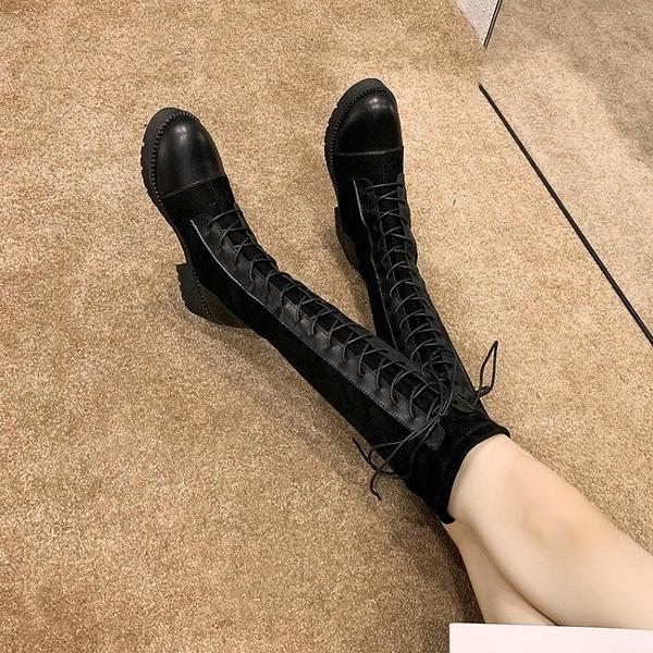 長靴 長靴女過膝靴2021新款秋季靴子ins百搭粗跟長筒秋款高筒騎士靴潮 霓裳細軟