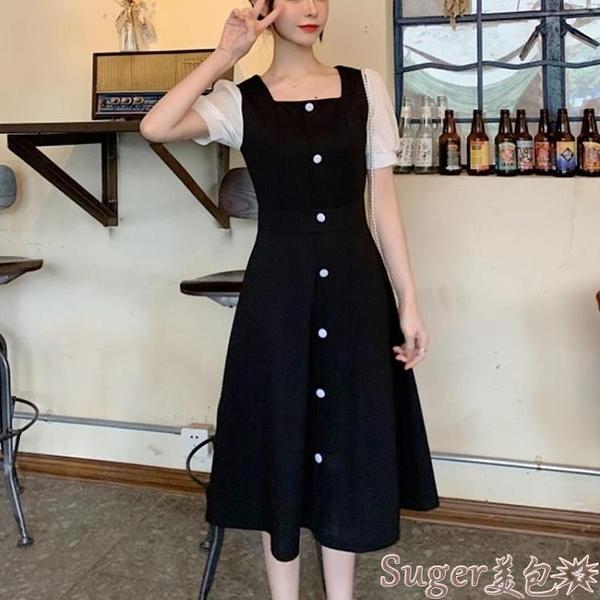 雪紡洋裝 夏季2021新款一字領單排扣連身裙復古收腰中長款撞色短袖雪紡裙子 suger