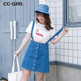 中大尺碼 吊帶A字牛仔短裙  - 適XL~5L《 66412K 》CC-GIRL
