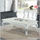 【水晶晶家具/傢俱首選】SY1151-1尼克森130cm法式描銀漆象牙白人造石面大茶几~~小茶几另購